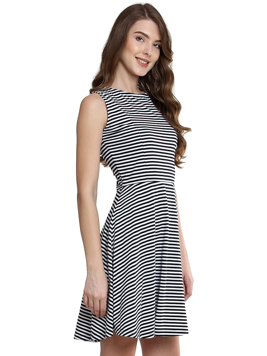 fe28c2a4ac6 Miss Chase Women s Black and White Striped Skater Dress  Amazon.in   Clothing   Accessories