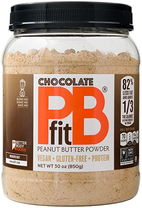 Chocolate PBfit â All-Natural Chocolate Peanut Butter Powder, Produced by BetterBody Foods, 30 Ounce
