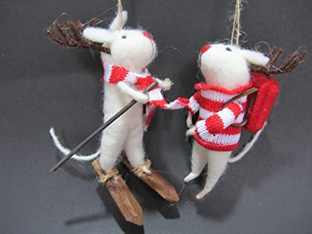 gisela graham christmas decorations felt mice hand made set of 2 - Christmas Mice Decorations