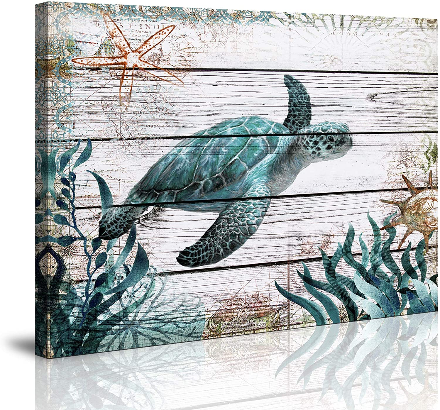 wall art for Bathroom Ocean Sea Wall Art Green Turtle Pictures Artwork Painting Ocean Decor Canvas Prints Nautical Bathroom Art Pictures Wall Decor Canvas Framed Prints Bedroom Ready to Hang