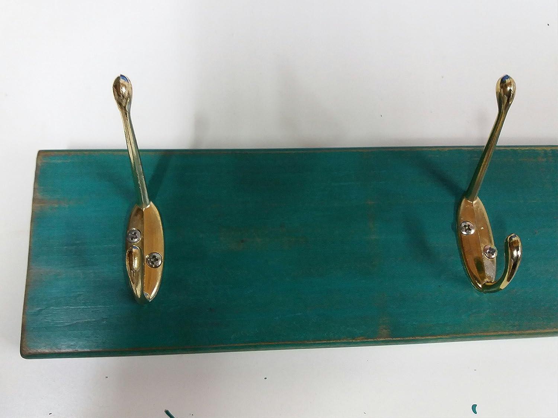 Perchero/percha de pared azul turquesa con 3 colgadores ...
