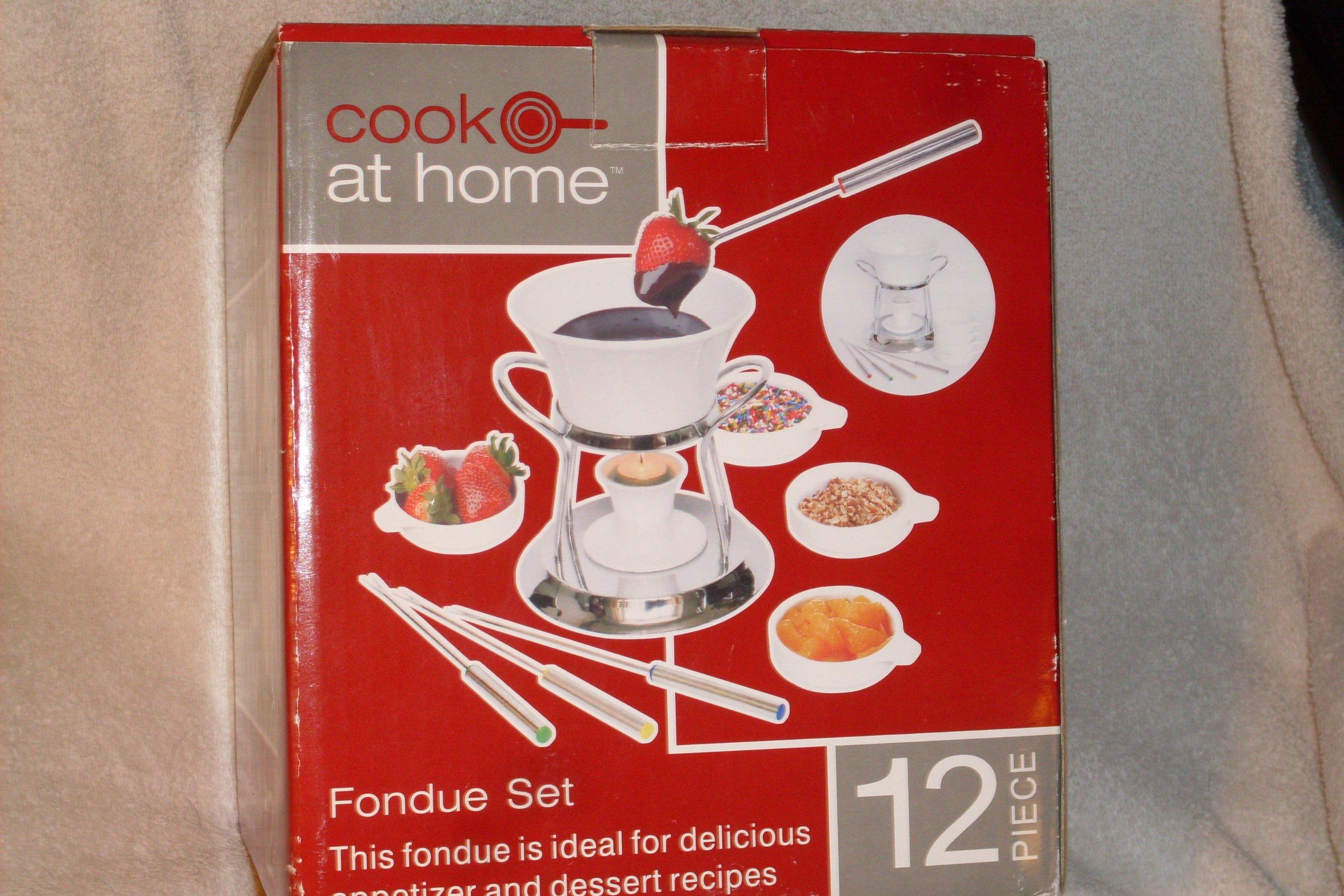 12 Piece Ceramic Fondue Set- Chrome Plated Metal Stand, 1 Quart Ceramic Pot, Ceramic Tea Light Holder, 4 Fondue Forks, Tea Light Candle, 4 Ceramic Bowls