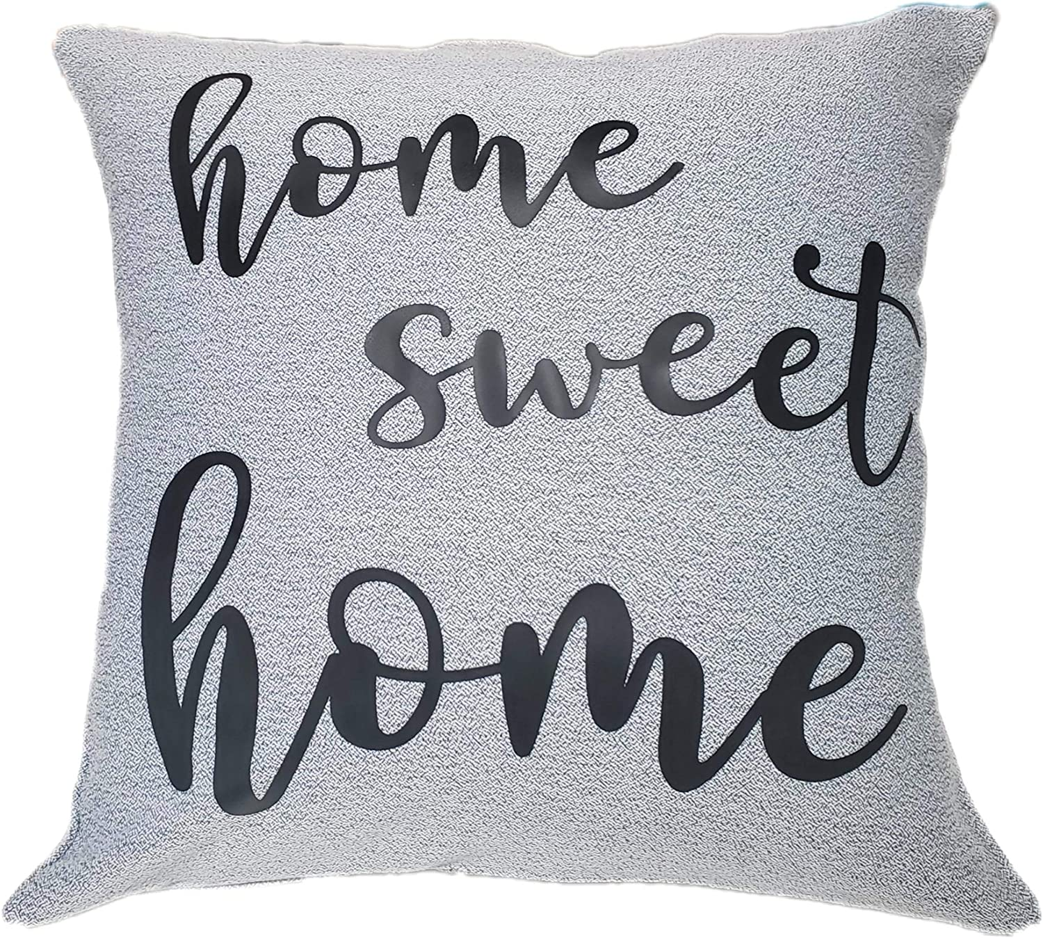 Rb And Co Home Sweet Home Throw Pillow Cushion Sham Cover And Insert 16x16 Gray Polyblend Cover Home Kitchen