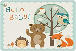 Lunarable Party Pet Mat for Food and Water, Woodland Animals Owl Bear Hedgehog Bee and Fox with Colorful Hello Words, Non-Slip Rubber Mat for Dogs and Cats, 18
