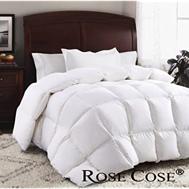 ROSECOSE® Luxurious Goose Down Comforter Queen Duvet Insert All Seasons Solid White Hypo-allergenic 1200 Thread Count 750+ Fill Power 100% Cotton Shell Down Proof with Tabs (Queen, White)