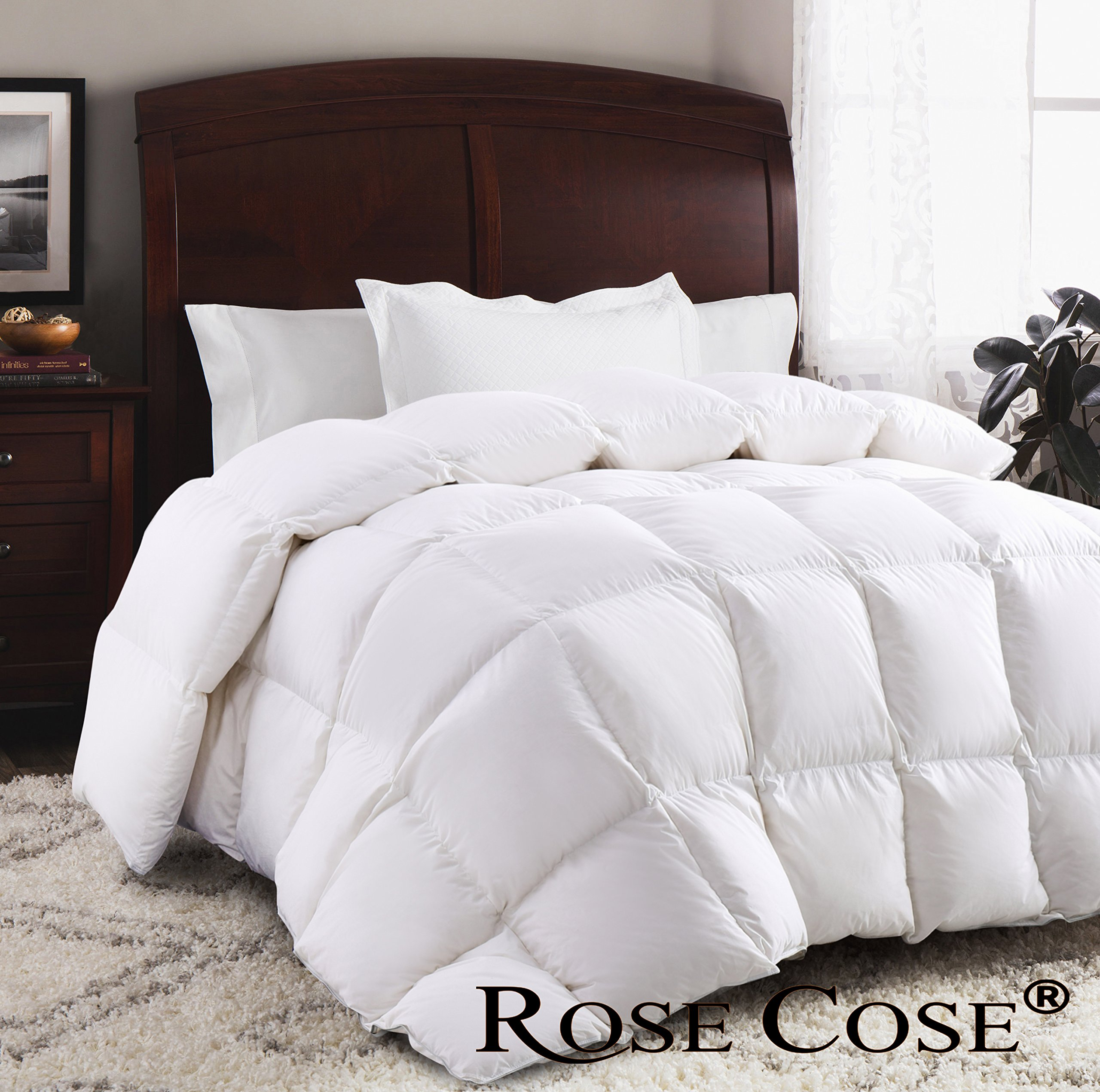 ROSECOSE Luxurious Goose Down Comforter Queen Duvet Insert All Seasons Lightweight Solid White Hypo-allergenic 1200 Thread Count 750+ Fill Power 100% Cotton Shell Down Proof With Tabs (Queen, White)