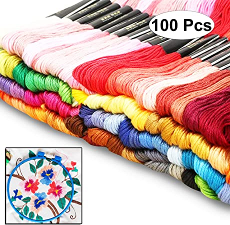 50 Hand Embroidery Floss Threads Stitches Crafts DIY Tools Set 5 Plastic Ring