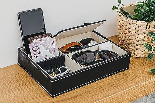 Fineway - Bandeja de piel con 5 compartimentos para guardar tarjetas y joyas, ideal para teléfonos móviles, relojes, monedas, llaves y relojes de joyería: Amazon.es: Hogar