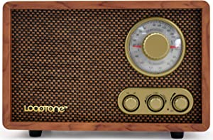 LoopTone AM FM Retro Radio with Bluetooth Speaker,Vintage Wood Table Radio for Kitchen Living Room with Rotary Knob