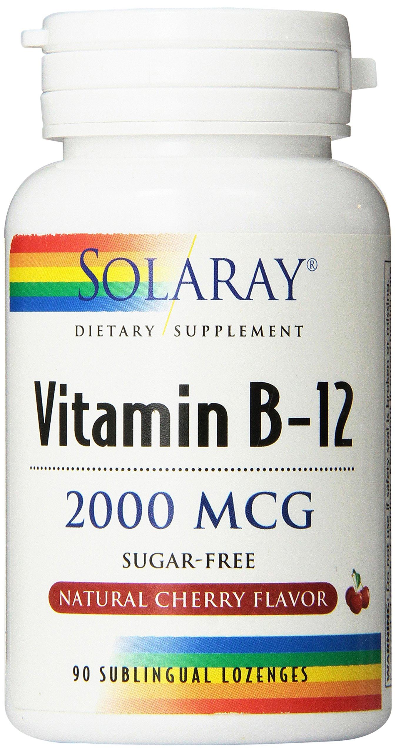 Solaray – Vitamina B12 sublingual 2000 mcg con sabor cereza, 90 Comprimidos product image