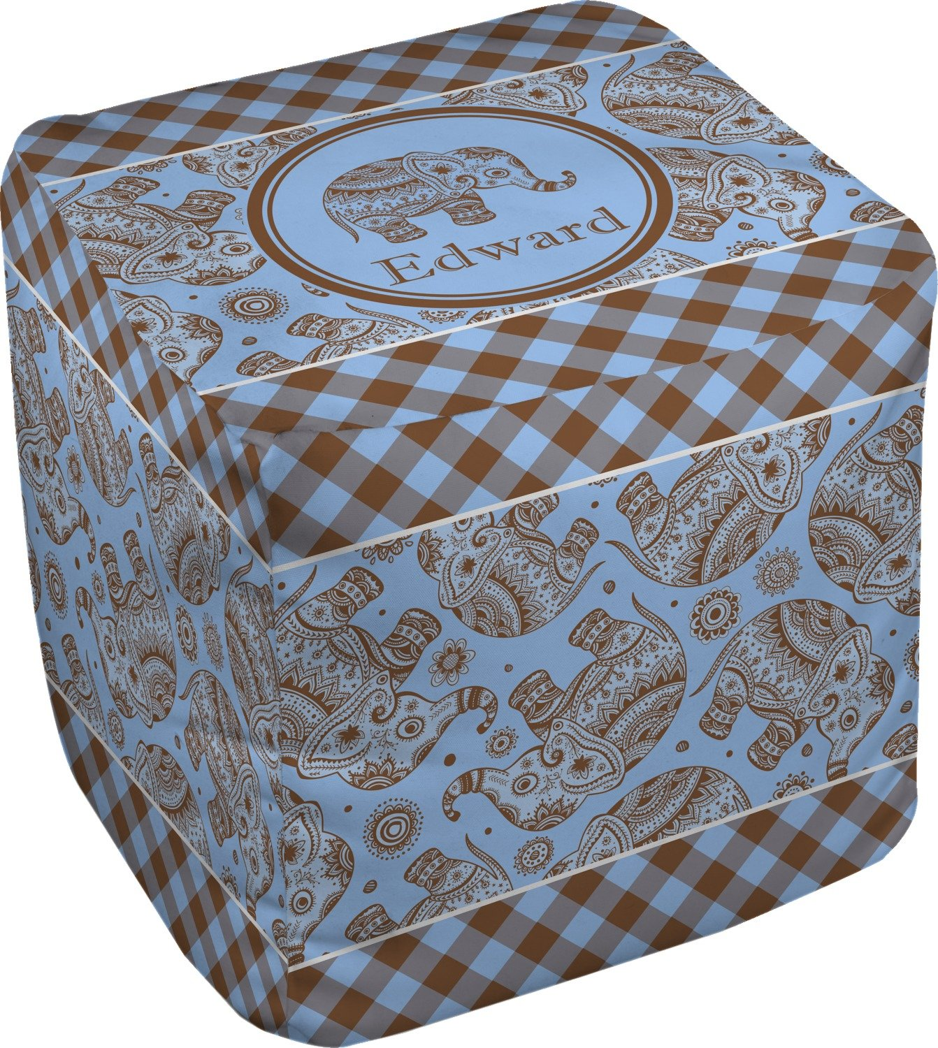 RNK Shops Gingham & Elephants Cube Pouf Ottoman - 13'' (Personalized)