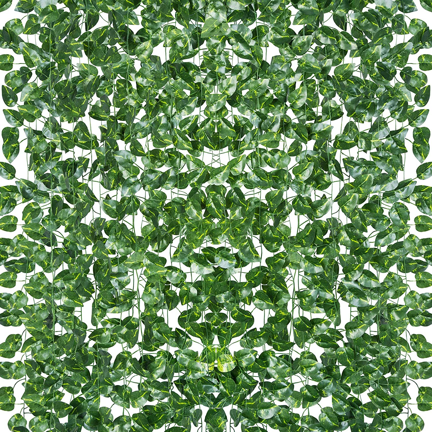 18 Pack 124 Feet Aesthetic Room Decor Vines Fake Leaves Greenery Garland Artificial Hanging Plants for Bedroom Garden Kitchen Office Home Wedding Party Wall Decor