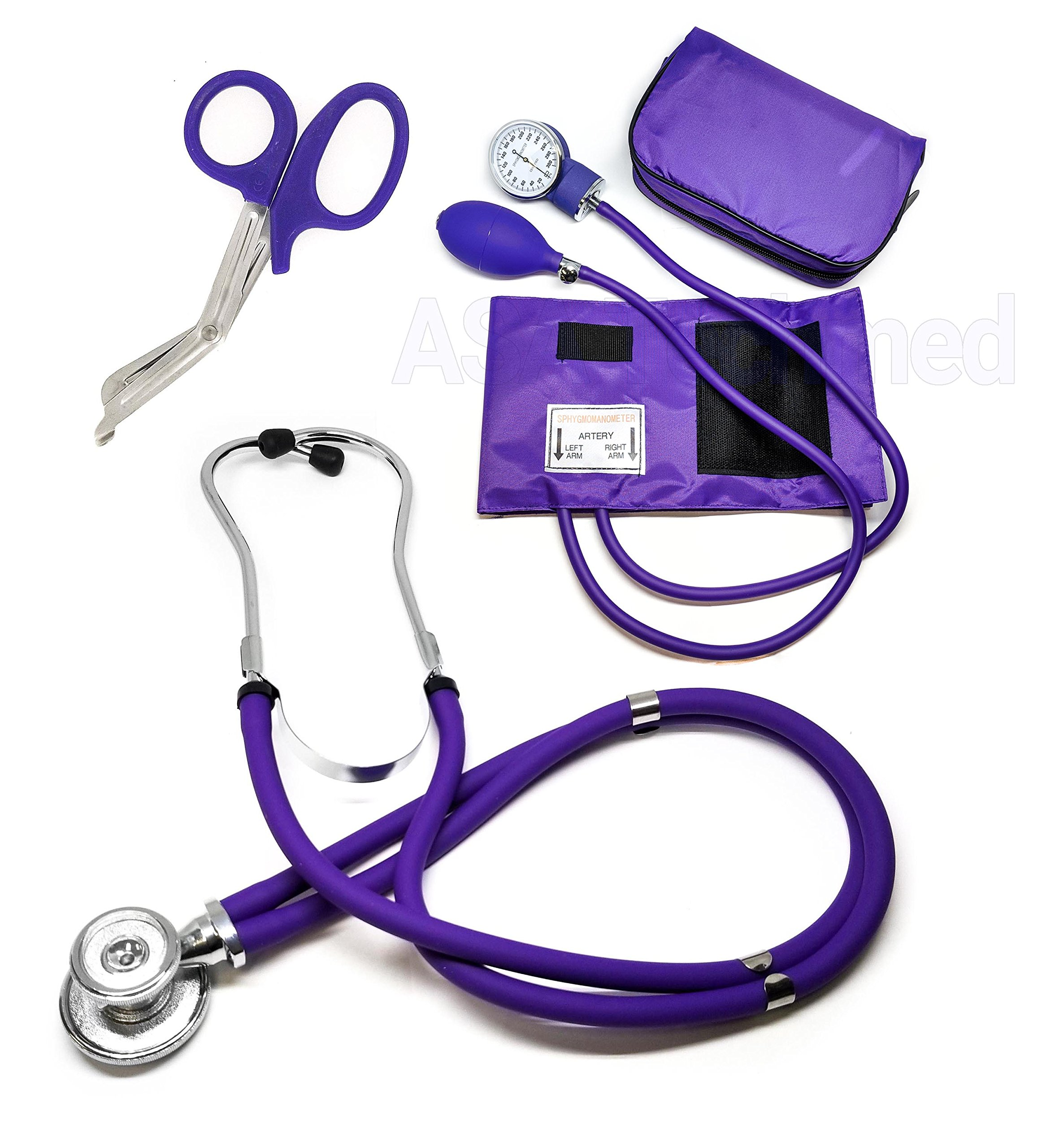 ASATechmed Nurse/EMT Starter Pack Stethoscope, Blood Pressure Monitor and Free Trauma 7.5'' EMT Shear Ideal Gift for Nurse, EMT, Medical Students, Firefighter, Police and Personal Use (Purple)