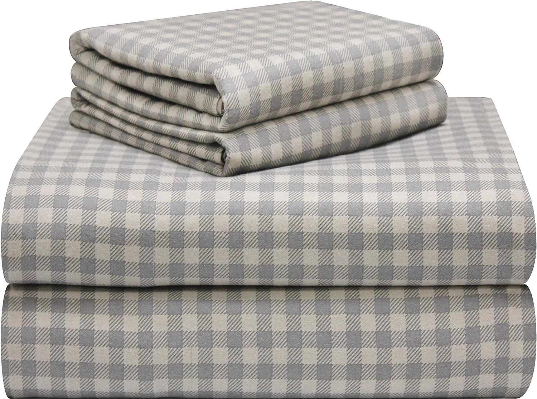 Pointehaven 180 GSM Luxury Cotton Printed Flannel Sheet Set, Twin, Farmhouse Plaid