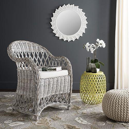 Safavieh Home Collection Inez White Wash Wicker Club Chair
