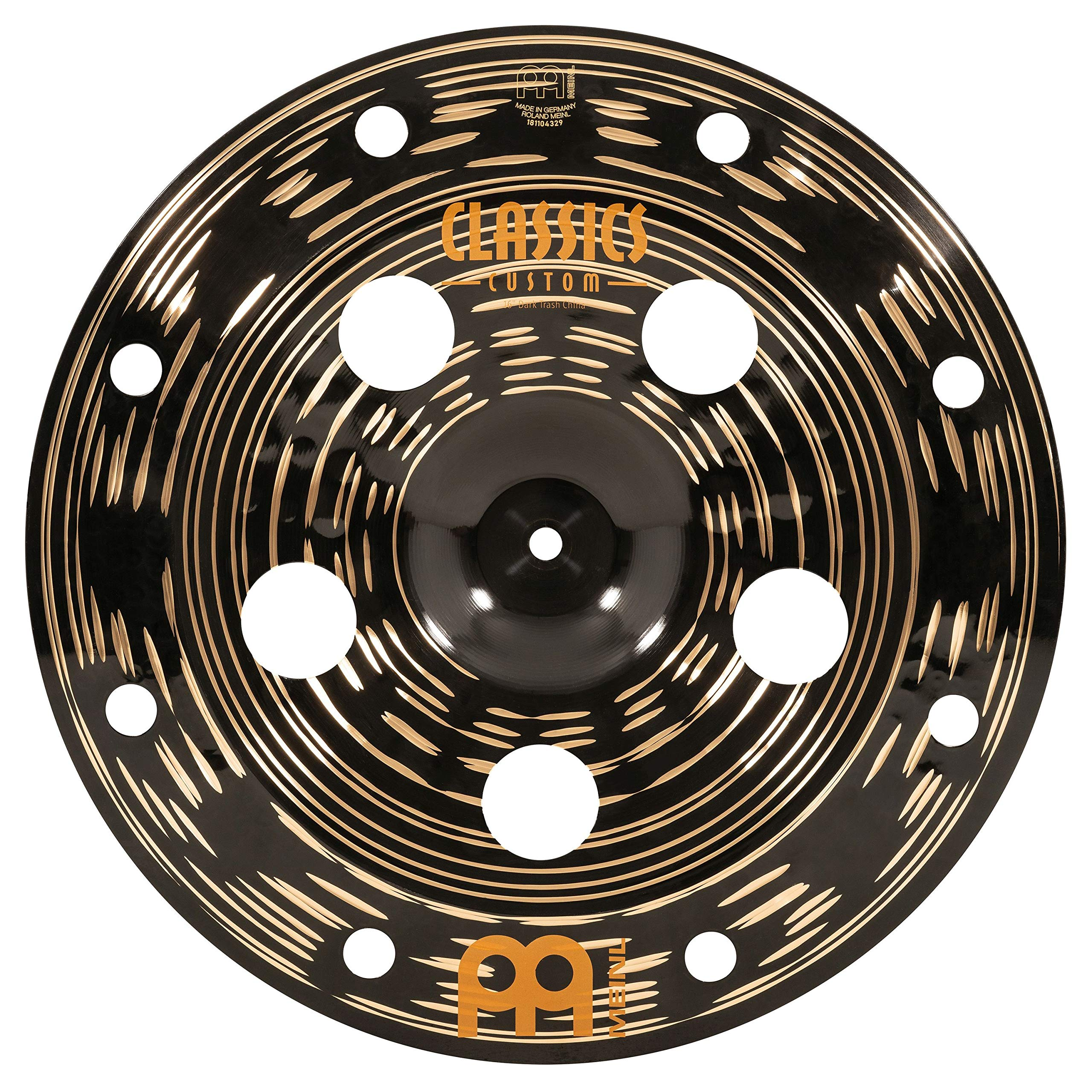 Meinl Cymbals 16'' Trash China Cymbal with Holes - Classics Custom Dark - MADE IN GERMANY, 2-YEAR WARRANTY CC16DATRCH