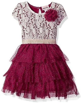 1cfcf3a251 Amazon.com: Little Lass Girls' Toddler 1 Pc Sparkle Lace Dress, Wine ...