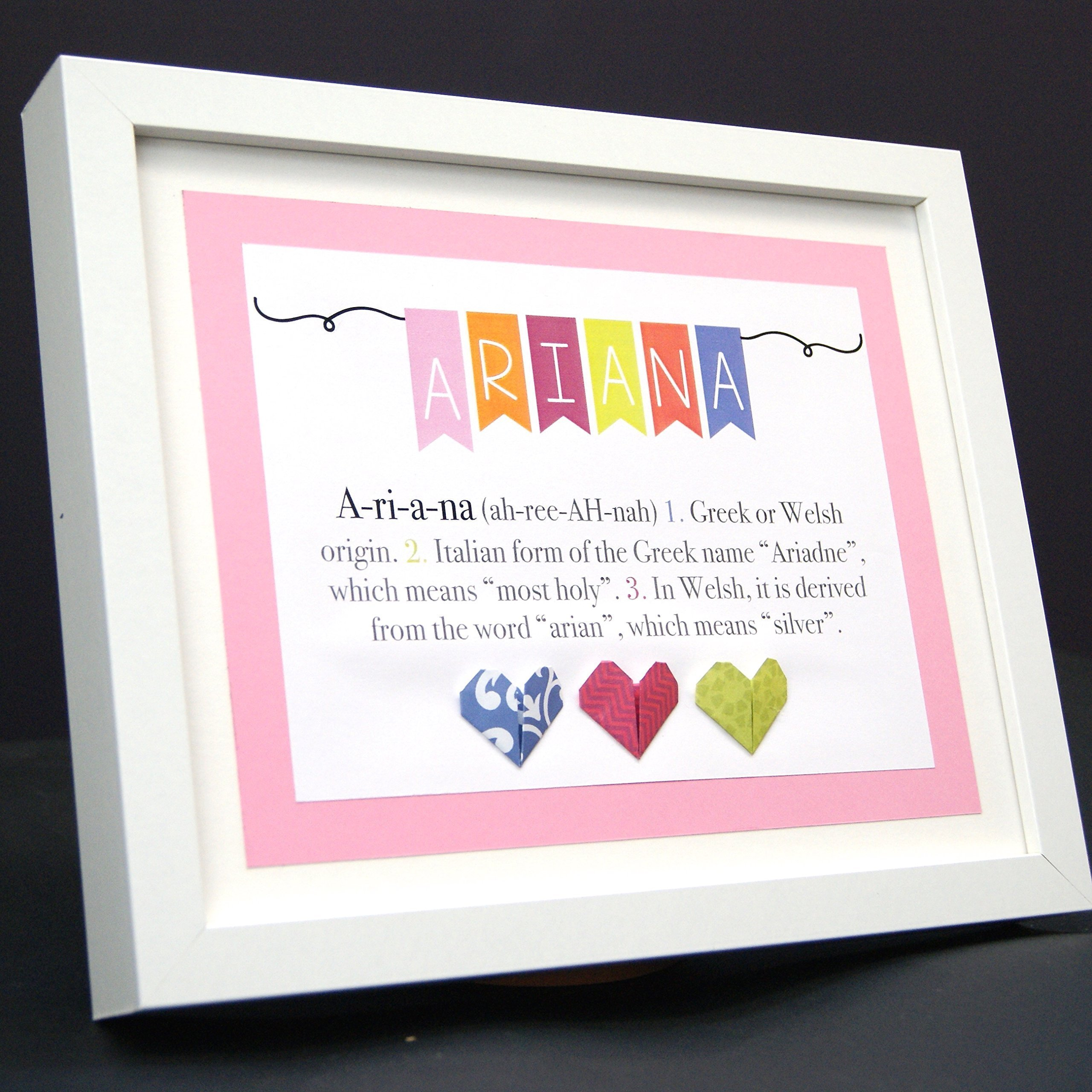 Personalized Name Origin and Meaning Baby Gift Paper Origami Frame with Name Origin and Meaning Custom Newborn Baby Shower Girl Gift