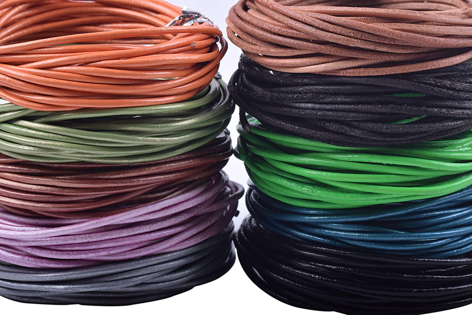 Necklaces Plain Genuine Leather Cord 1.0MM A1 Black cords craft Round Leather Cord for Round Bracelet