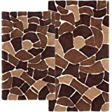 Chesapeake Merchandising Boulder 2-Piece Bath Rug Set, 21 by 34-Inch and 24 by 40-Inch, Brown