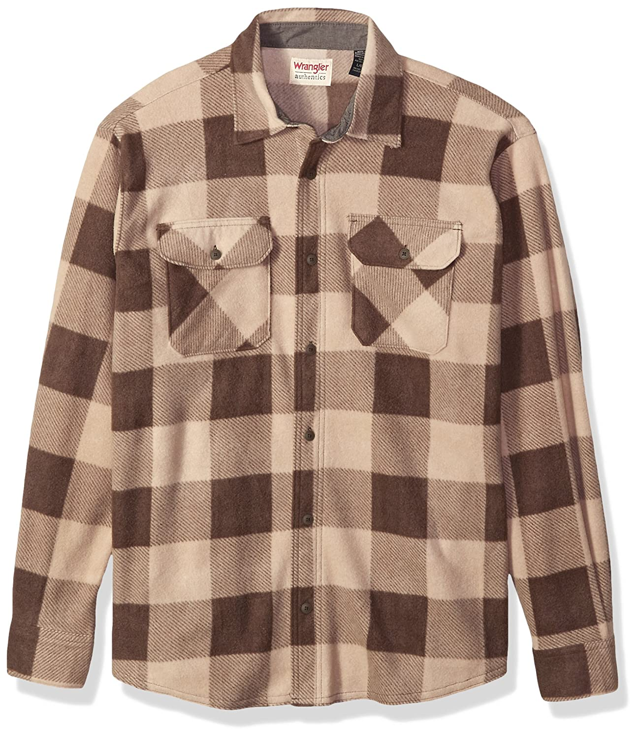 Wrangler Mens Authentics Long Sleeve Plaid Fleece Shirt Wrangler Authentics Men' s Sportswear