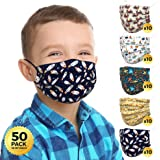 Kids Face Mask Boys (50 Pack, Individually Wrapped) - 3-Ply Non-Medical Face Masks for Kids, 5 Premium Kids Mask Patterns (Pl
