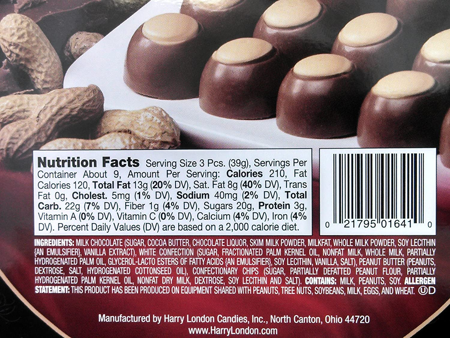 Amazon.com : Harry London Gourmet Milk Chocolate & Peanut Butter ...