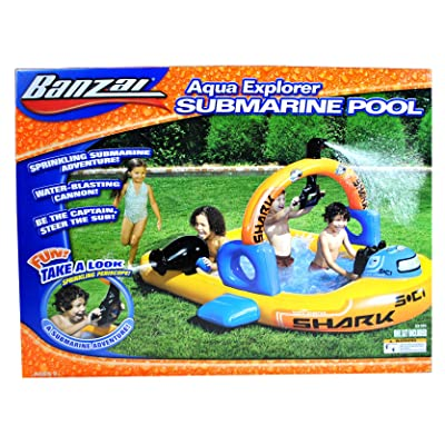 "Banzai Aqua Explorer Series Inflatable Swimming Pool -SUBMARINE POOL with Water Blasting Cannon, Continuous Spray Periscope Sprinkler, Inflatable Arch and 1 Repair Patch (Pool Dimension: 83"" L x 67\"" W x 51\"" H): Toys & Games [5Bkhe0205200]"