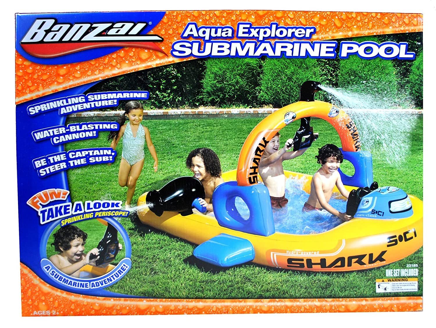 Banzai Aqua Explorer Series Inflatable Swimming Pool -SUBMARINE POOL with  Water Blasting Cannon, Continuous Spray Periscope Sprinkler, Inflatable  Arch ...