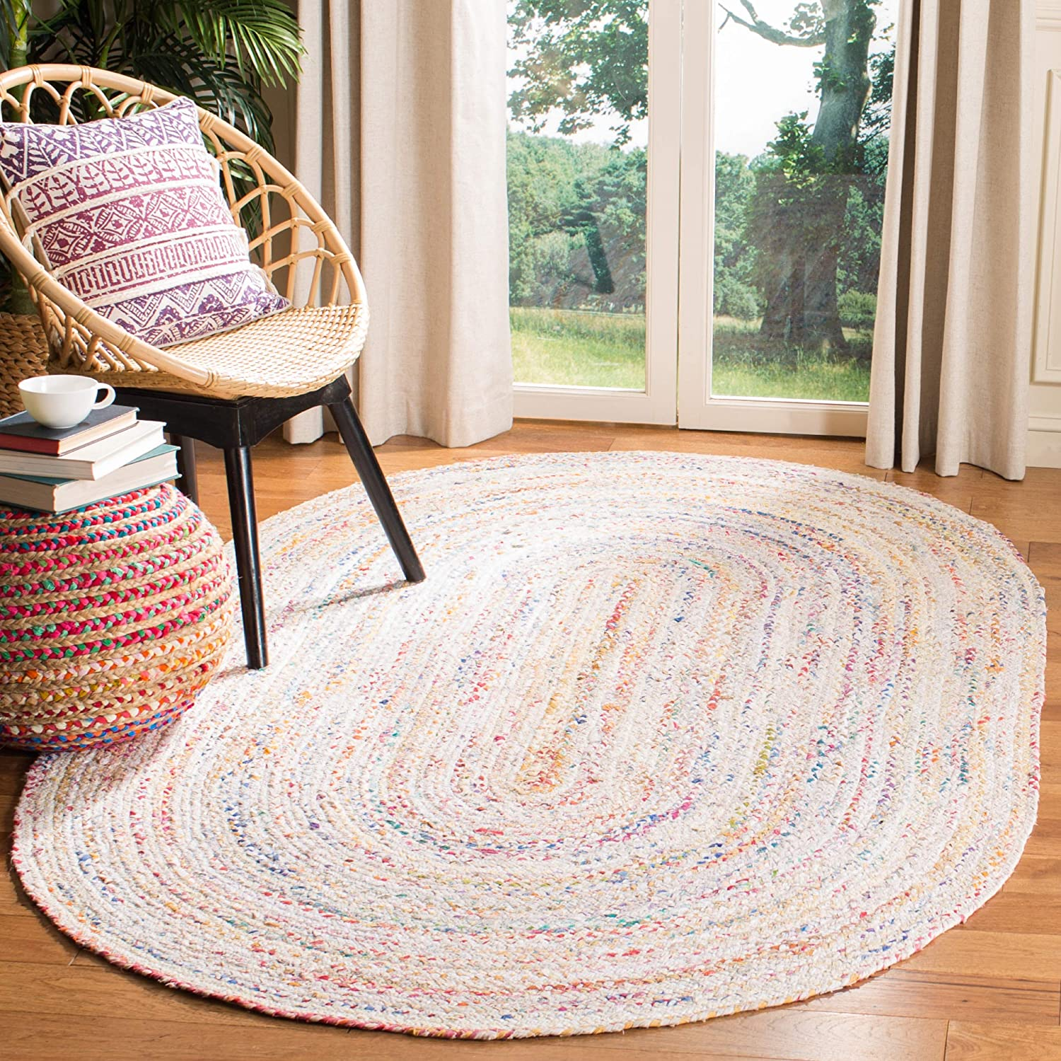 Safavieh Braided Collection BRD210B Handwoven Ivory and Multicolored Oval Area Rug (6' x 9')