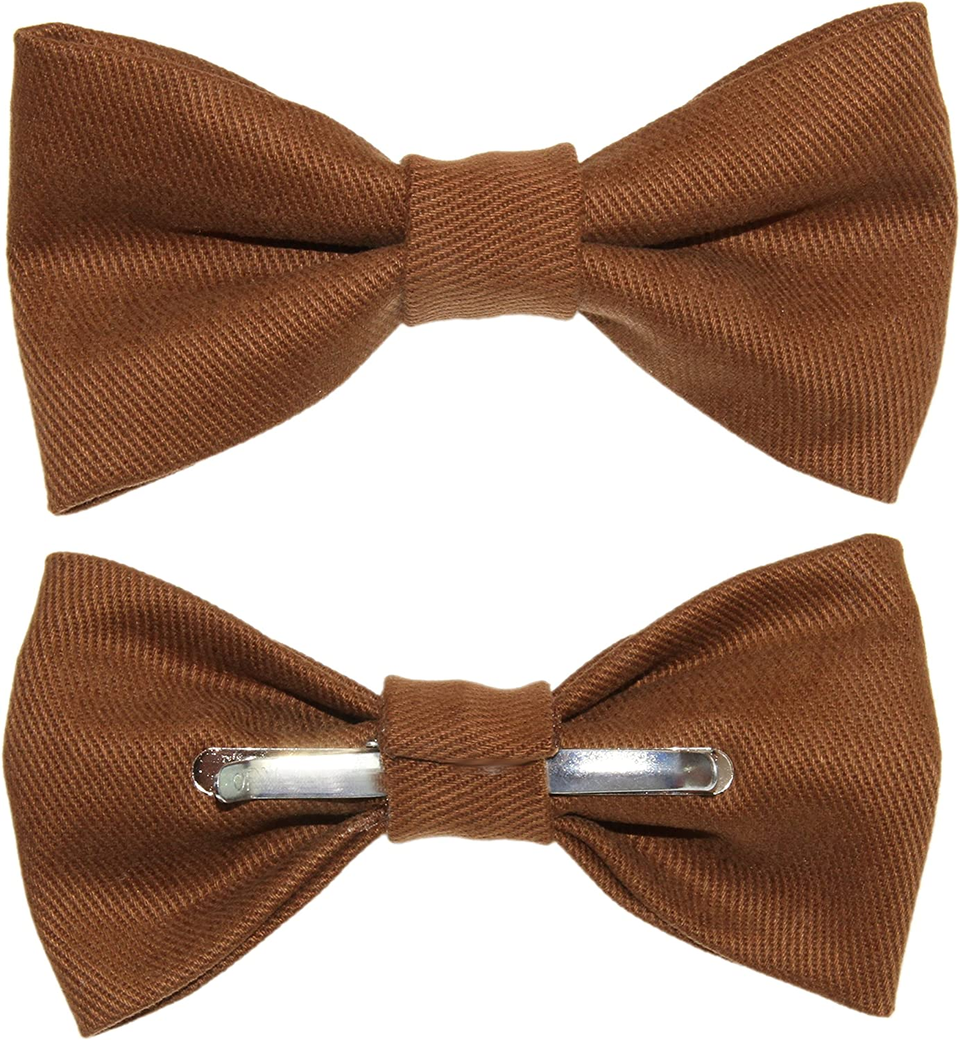 Mens Brown Brushed Denim Clip On Bow Tie amy2004marie