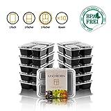 Amazy Lunchbox lot de 10   3 compartiments – Boîte repas réutilisable pour préparer et organiser vos repas (10 boîtes, 900 ml)
