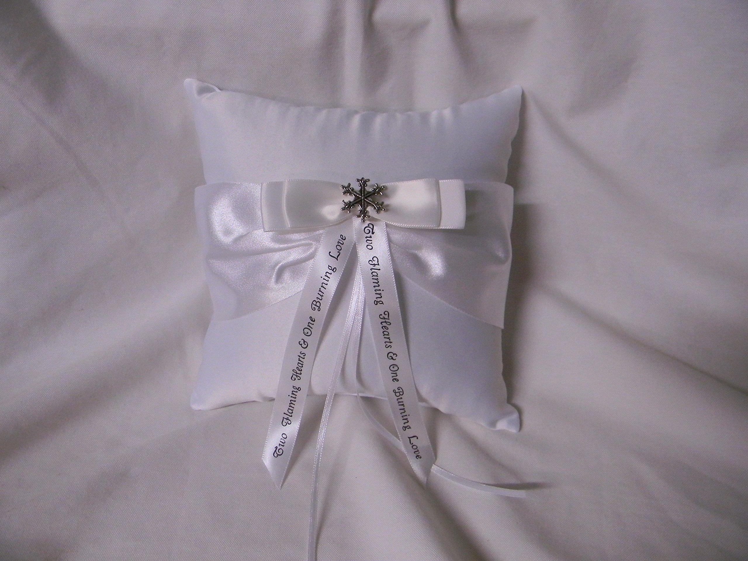 Wedding Winter ceremony Party Ring bearer Pillow Snowflake with Message Ribbon