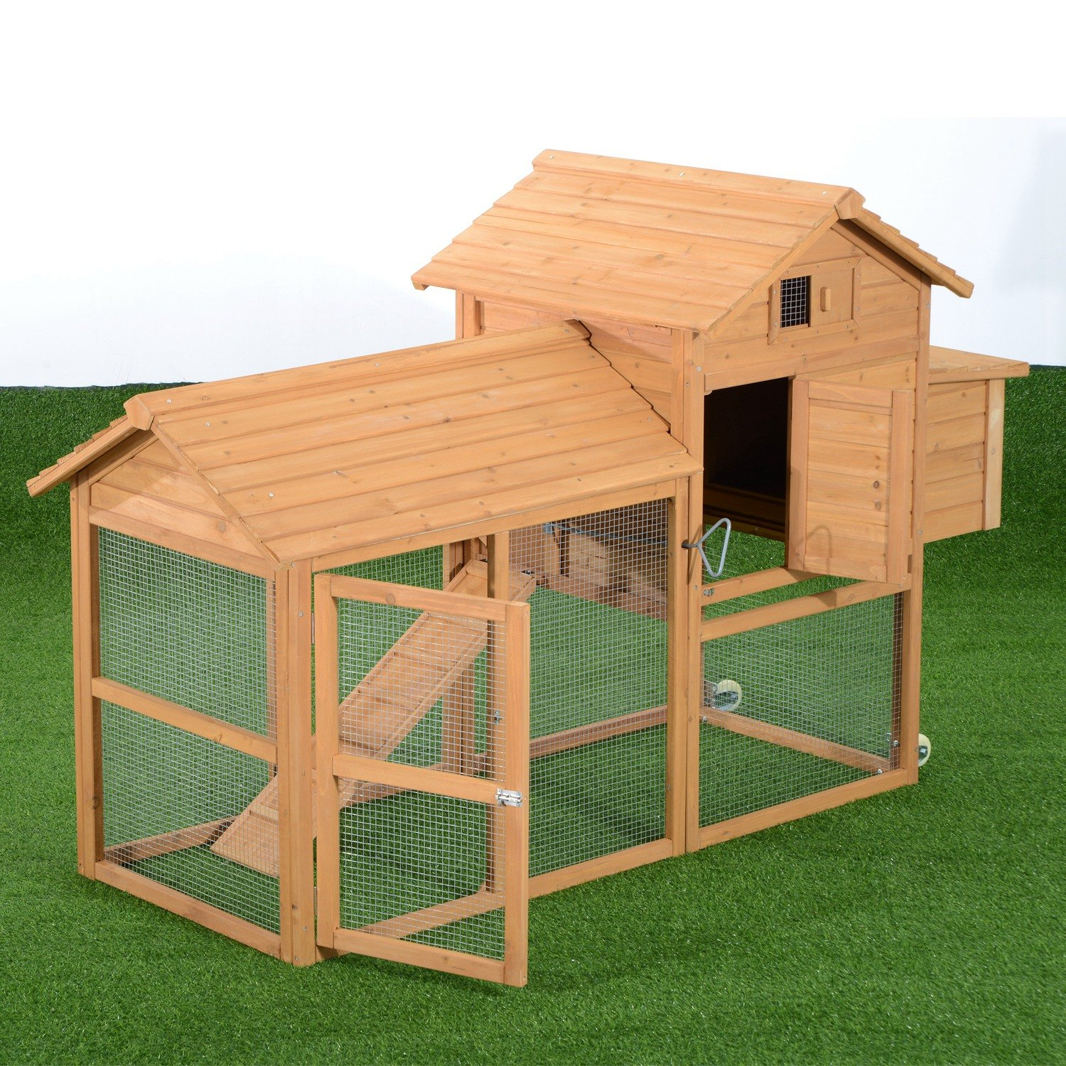 Pawhut Deluxe Portable Backyard Chicken Coop w/ Fenced Run and Wheels by PawHut