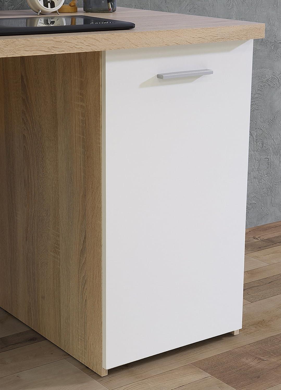 145 x 60 x 76.3 cm FORTE  Schreibtisch mit 4 Schubk/ästen und 1 T/ür beton Wei/ß Holz