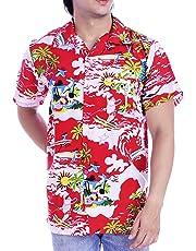 Funny Mens Christmas Hawaiian Shirts Surfing Santa Claus Front Pocket