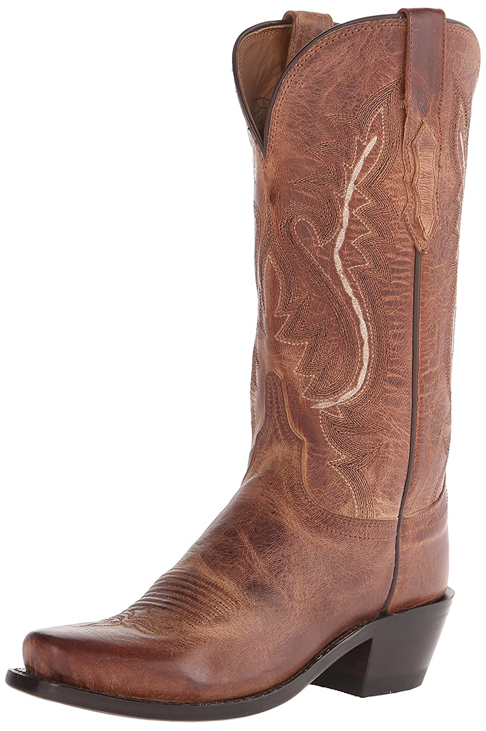 Lucchese Bootmaker Women's Cassidy-Tan Mad Dog Goat Riding Boot B00SBHDNW6 8.5 B(M) US|Tan Burnish