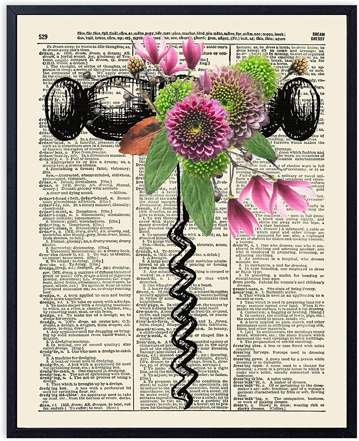 Printsmo, Wine Cork Screw with Flowers, Vintage Dictionary Art Print, Wine Lover Art Print with Rustic Floral Arrangement, Wall Art for Home Decor and Kitchen Decor, 8x10 inches, Unframed