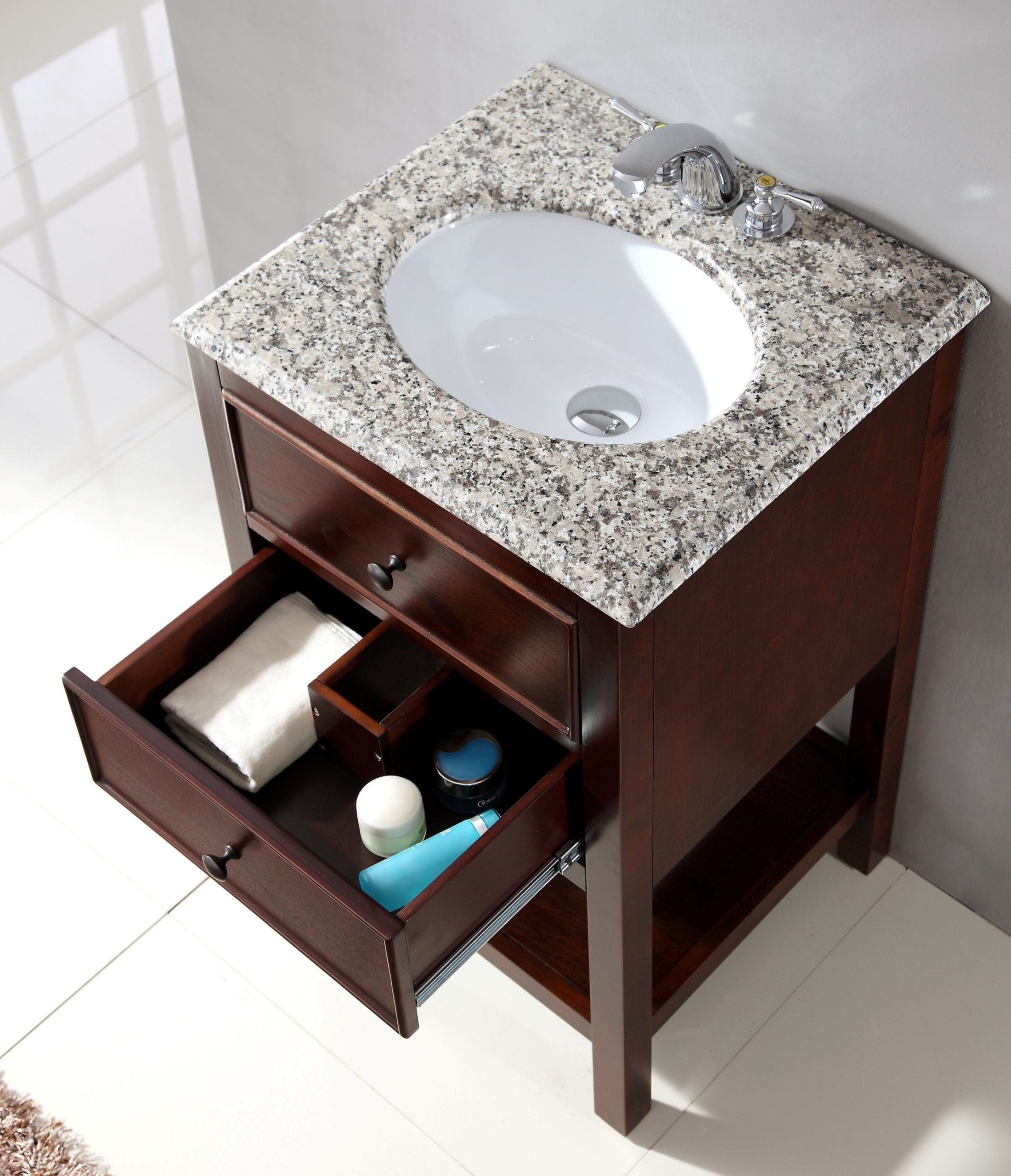 "Simpli Home NL-HHV022H-20-2A Burnaby 20 inch Contemporary Bath Vanity in Walnut Brown  with Dappled Grey Granite Top - Single sink bathroom vanity with one functional drawer and one open bottom shelf, hardwood frame and legs Vanity color: Walnut Brown with antique nickel round knobs Overall Vanity Size with Top: 21"" w x 19"" d x 34.5"" h; Top weight: 27 lbs., Top edge thickness: 11/16"" - bathroom-vanities, bathroom-fixtures-hardware, bathroom - 915zkmk6AfL -"