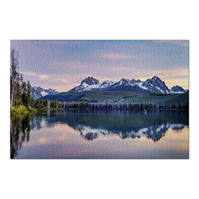 Fishing Boat in Little Redfish Lake in Idaho at Sunset 9006588 (Premium 1000 Piece Jigsaw Puzzle for Adults, 20x30, Made in USA!): Toys & Games