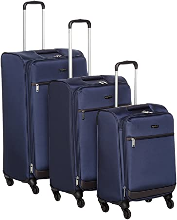 """AmazonBasics Softside Suitcase Set with Wheels, 21"""" (53.3 cm) +25"""" (63.5 cm) + 29"""" (73.6 cm), Navy Blue"""