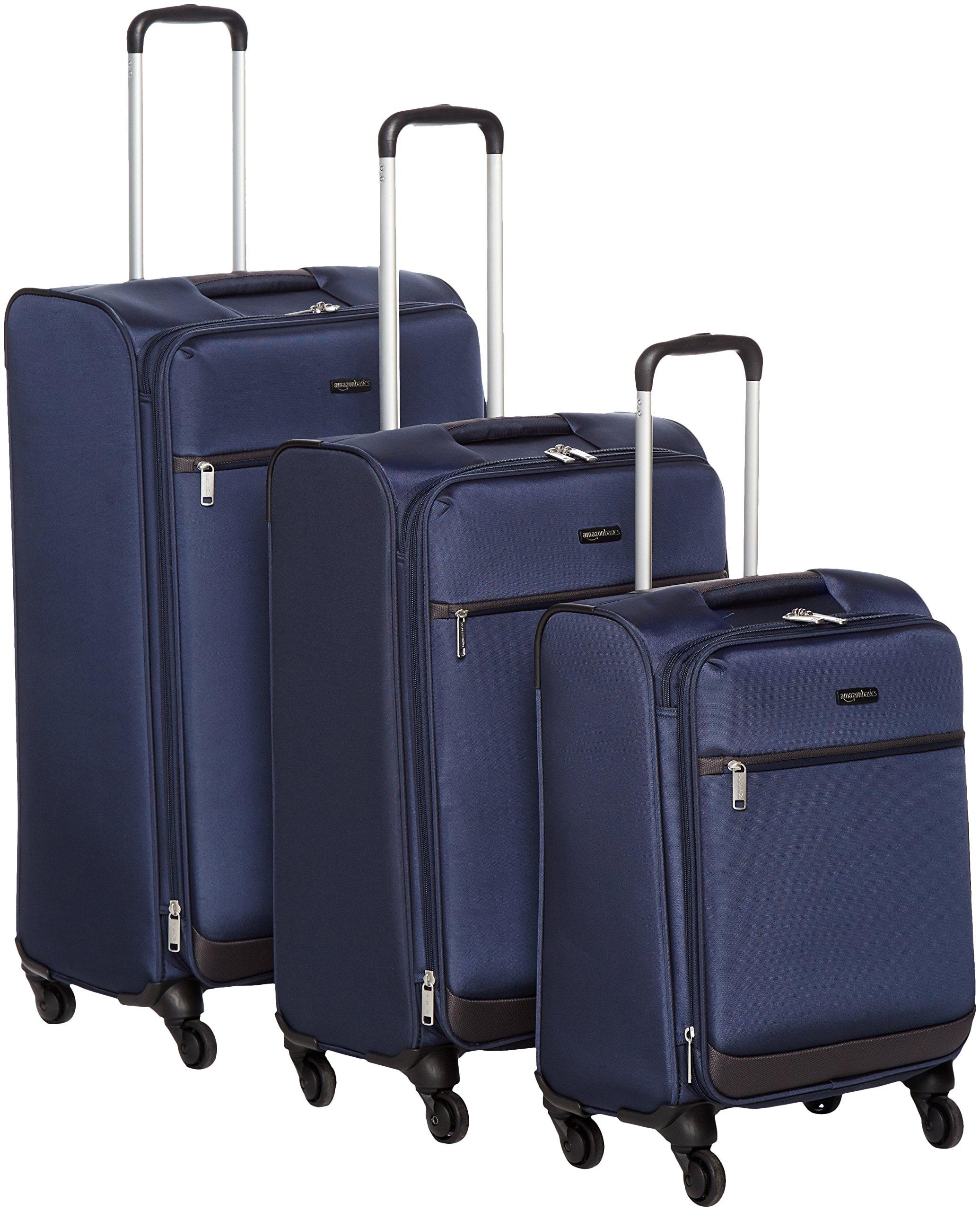 AmazonBasics Softside Spinner Luggage - 3 Piece Set (21'', 25'', 29''), Navy Blue by AmazonBasics