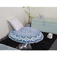 "Popular Handicrafts Mandala Round Hippie Floor Pillow Cover (Blue, 32"" Cushion Cover)"
