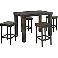 Deals on 5-Piece Outdoor Wicker Dining Bar Table Set w/ Stools
