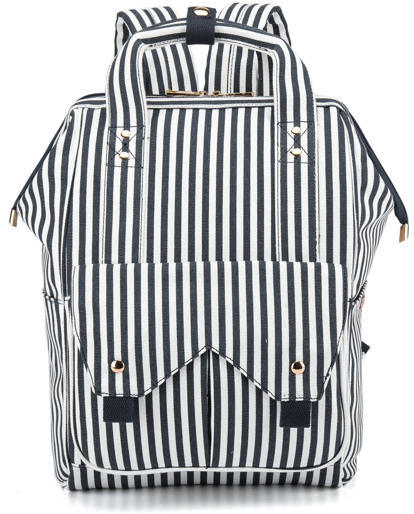 Womens Backpack Doctor Style Diaper Bag Multipurpose College School Laptop Backpacks Bookbag Canvas Rucksack Travel Daypack for Ladies Girls (Blue Stripe)