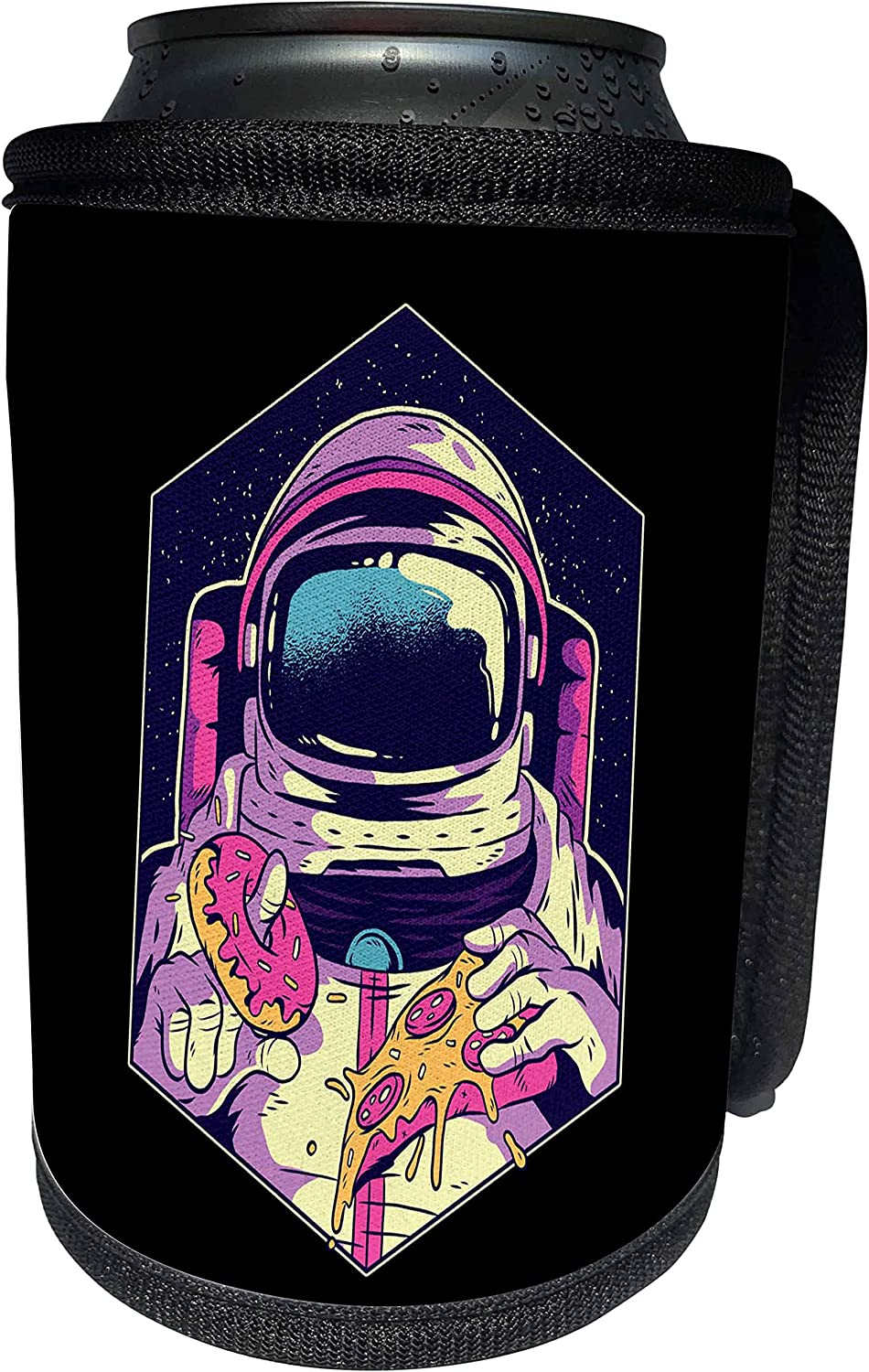 3dRose Sven Herkenrath Fantasy - Illustration Design with Astronaut and Pizza Food Sweet - Can Cooler Bottle Wrap (cc_306912_1)