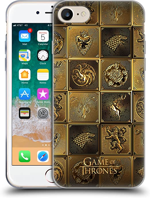 Head Case Designs Officially Licensed HBO Game of Thrones All Houses Golden Sigils Soft Gel Case Compatible with Apple iPhone 7 / iPhone 8 / iPhone SE ...
