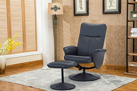 Modern Living Room Faux Leather Recliner Chair With Footstool , Reclining  Swivel Office Chair, Gaming