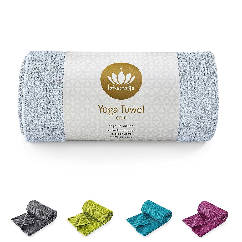 Lotuscrafts Toalla Yoga Antideslizante Grip - Antideslizante y de Secado Rápido - Manta Yoga Antideslizante - Toalla Microfibra Deporte - Toalla de Yoga ...