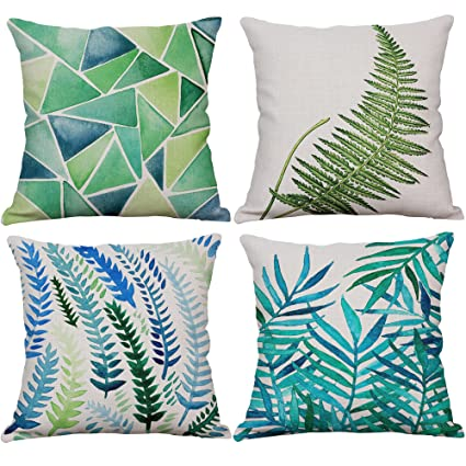 Amazon YeeJu Set Of 40 Green Leaf Throw Pillow Covers Cotton New Tropical Throw Pillow Covers